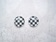 BLACK WHITE STRIPE or CHEQUER Domed Glass STUD EARRINGS Monochrome Check