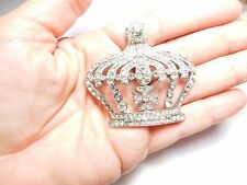 Large Vintage Silver Tone Metal Clear Rhinestone Studded Royal Crown Brooch
