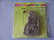 STAMPENDOUS RUBBER STAMPS CLING BUNDLED KITTY CHRISTMAS STAMP