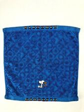 Snoopy Blue Signature Washcloth Towel Linens Bath Embroidered VTG