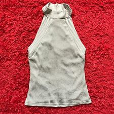 Bardot Forever Silver Metallic Knit High Neck Singlet Top As New