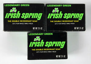 (3) Irish Spring Legendary Green Personal Bar Soap 3.5 oz. Vintage Black Prop