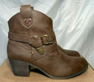 Rocket Dog Womens Faux Leather Cowboy Ankle Boots Brown  Sz UK 7 / 40 rrp£70