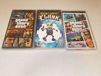 Sony PSP 3 Game Lot Grand Theft Auto Vice City, Liberty City, Secret Agent Clank