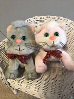 Lot 2 Vintage Kennel Kittee Kitty Stuffed Kittens Pound PURrIE Type