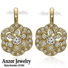 14k Solid Yellow Gold Genuine 3.30cwt Diamond Russian Jewelry Earrings #E1354