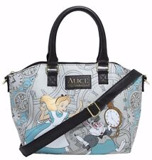Disney Alice In Wonderland Rabbit Hole Clocks Satchel Hand Bag Purse NWT