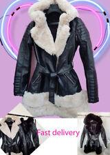 Women's Ladies Faux Fur detail Leather Belted Winter Warm Jacket Coat New UK