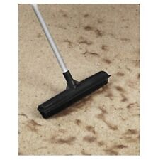 """Rubber Bristled Broom Long Handled Squeegee & Scrubber 11"""" Head Pet Hair Removal"""