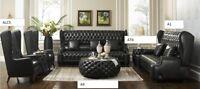Chesterfield Sofagarnitur Ledersofa Couch Sofa Sitz Polster Garnitur 3+2+1+1 A39