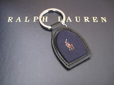 Polo RALPH LAUREN Polo Pony Player Blue Silk and Leather FOB Keychain Key Chain
