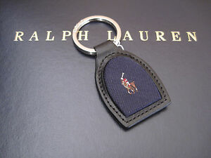 Polo RALPH LAUREN Polo Pony Player Stirrup Blue Leather FOB Keychain Key Chain