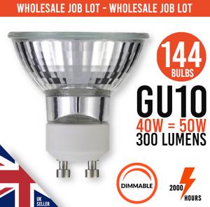 Dimmable Reflector GU10 40W = 50W  MAINS 240V HALOGEN LIGHT JOB LOT 144 BULBS