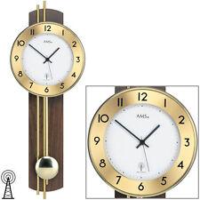 AMS Radio-piloté Horloge murale à pendule Noyer Plaqué Barres en laiton