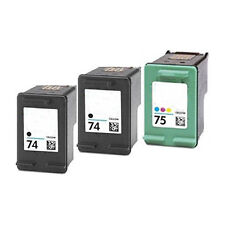 2X HP74+ HP75 BLACK & COLOR Refilled Ink Cart Phtotsmart C4225 C4240 C4280 C4380