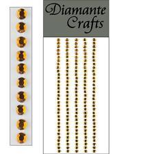 165 x 3mm Brown Diamante Self Adhesive Strips Rows Rhinestone Craft Gems