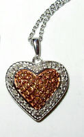 HEART PENDANT .25CTW CHAMPAGNE 100% NATURAL DIAMOND NECKLACE ROSE GOLD STERLING