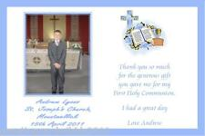 10 Personalised Communion Thank You Cards Boy Photo 3a