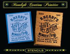 Primitive Stencil~Vintage~LOVE POTION No 9 ~2013~Old Victorian Crate Sign Style