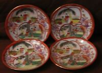 Set of 4 Hand Painted Japanese Signed Saucers Plates with 6 Geishas on Each