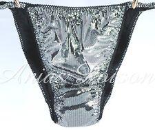 Sissy Panties for MEN Liquid Silver or GOLD Foil Spandex Stretch String Bikini