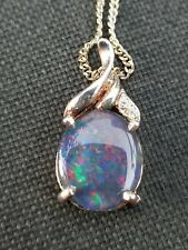 """OPAL PENDANT GREAT COLOR STERLING W/ 18"""" S.S.CHAIN  WITH DIAMOND ACCENT"""