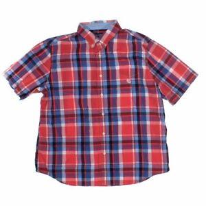 Chaps Men's Button-down Short Sleeve Shirt size XXL,  red,  cotton