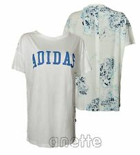 adidas Originals Womens Top Long Line Button Fly Patterned Back White Shirt 14
