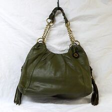 The Sak Green Leather Hobo Bag Purse Fringe Goldtone Chains IO 579-CV Tote Olive