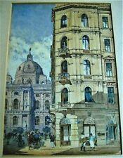 superb 19th century watercolor of Vienna by architect/artist ROBERT RASCHKA