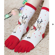 New Christmas Unisec Multicolor Toe Socks Five Finger Socks Cotton Funny Socks