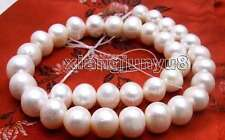 """SALE Big 12-13mm White Natural Freshwater round pearl Loose Beads 14""""-los366"""