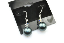 Tahitian Blue Crystal Pearl Earrings Sterling Silver Filled Made w Swarovski