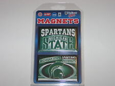 """Michigan State Spartans Team Logo 2 Pack Magnet Set - 3"""" x 2"""" With Metal Back"""