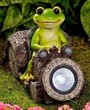 Solar Powered Lighted Woodland Frog Friend Driving Car Garden Statue