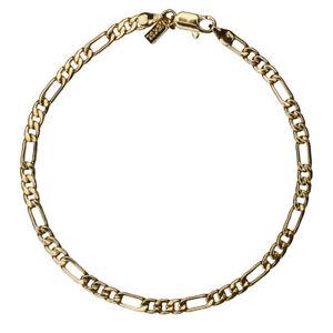 18K Gold Plated Figaro Chain Anklet / Ankle Bracelet - LIFETIME WARRANTY