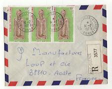 Congo 3 timbres sur lettre R 1979 tampon Brazzaville-Ouenze  /L45