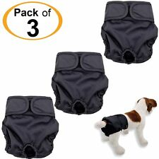 Pack - 3 Dog Diapers Female Cat LEAK PROOF Washable Waterproof Small Large Black
