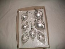 Set of ( 7 )  SILVER W/SCROLL Glass Christmas Ornaments  TEARDROPS  MATCHING