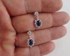 DANGLING EARRINGS W/ 4.50 CT LAB DIAMONDS & TANZANITE / 925 STERLING SILVER