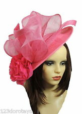 Large Fuchsia & Hot Pink Fascinator Hat for Ascot, Weddings, Formal Events S1