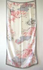 XXL SCHAL, Japanisches Design mit Bäumen, Weiß, Pink, Grau, Schw, Seide/ Viskose