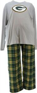 NFL Men's Pajama Set Long Slv Top Flannel Pants Packers XXL # A387683