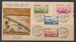 1961 South Vietnam FDC Saigon-Bien Hoa Highway Bridge Scott # 166-169