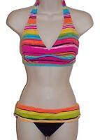 Anne Cole multicolor striped halter bikini size S swimsuit new