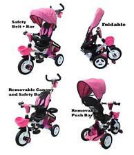 Safe Foldable Tricycle Toddler Kid Pram Stroller Ride on Trike Control Handle PN