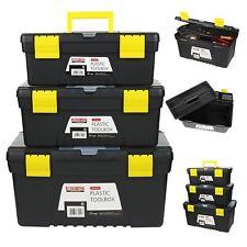 3pc Plastic Chest Tool Box Set DIY Compartment Storage Toolbox W/ Handle & Tray
