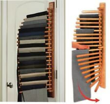 Pull-out Clothes Hanger Trouser Rack Wooden Rotating Wardrobe Storage Organiser