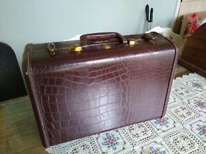 small faux crocodile brown suitcase,wedding card holder,retirement party,brown travel case,travel party,wedding decor,vintage luggage