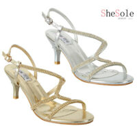 SheSole Women's Low Heel Strappy Comfort Sandals Rhinestone Wedding Dress Shoes